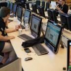 Arbeiten im Pressezentrum